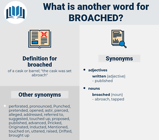broached, synonym broached, another word for broached, words like broached, thesaurus broached