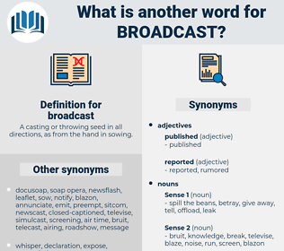 broadcast, synonym broadcast, another word for broadcast, words like broadcast, thesaurus broadcast