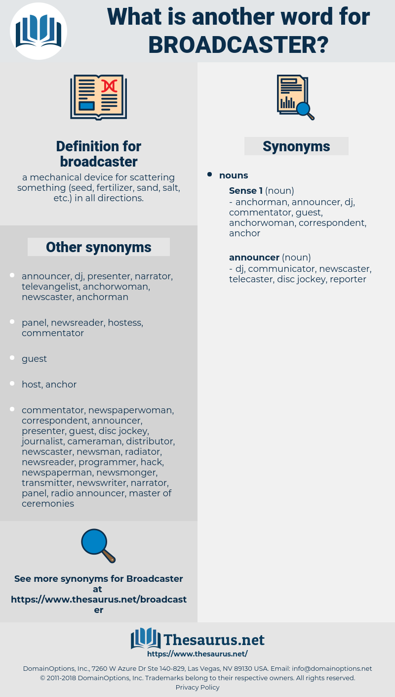 broadcaster, synonym broadcaster, another word for broadcaster, words like broadcaster, thesaurus broadcaster