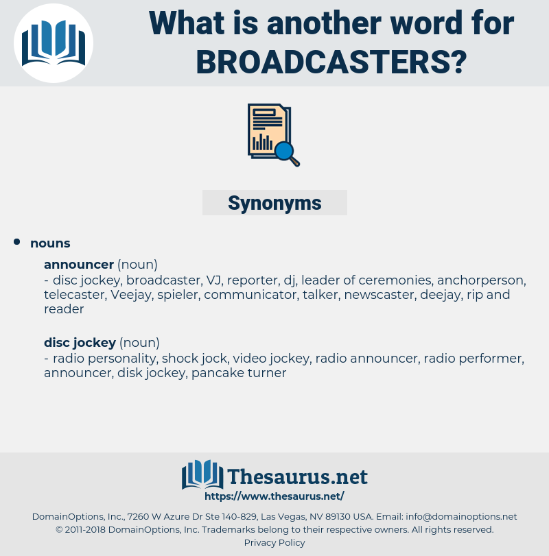 broadcasters, synonym broadcasters, another word for broadcasters, words like broadcasters, thesaurus broadcasters