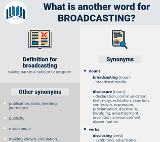 broadcasting, synonym broadcasting, another word for broadcasting, words like broadcasting, thesaurus broadcasting