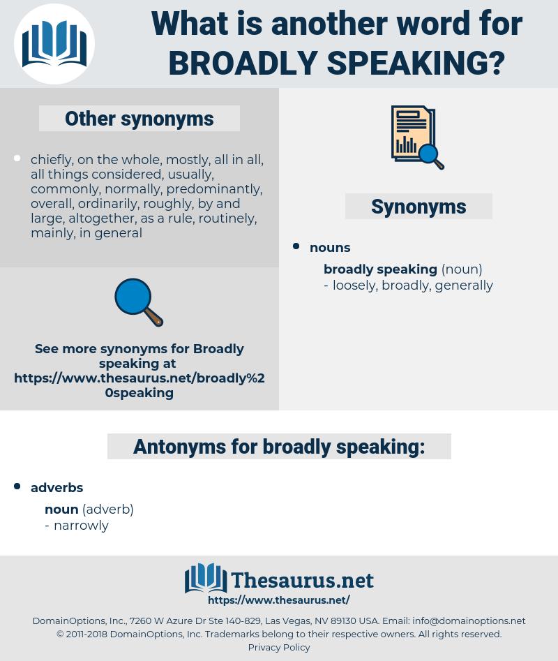 broadly speaking, synonym broadly speaking, another word for broadly speaking, words like broadly speaking, thesaurus broadly speaking