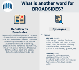 Broadsides, synonym Broadsides, another word for Broadsides, words like Broadsides, thesaurus Broadsides