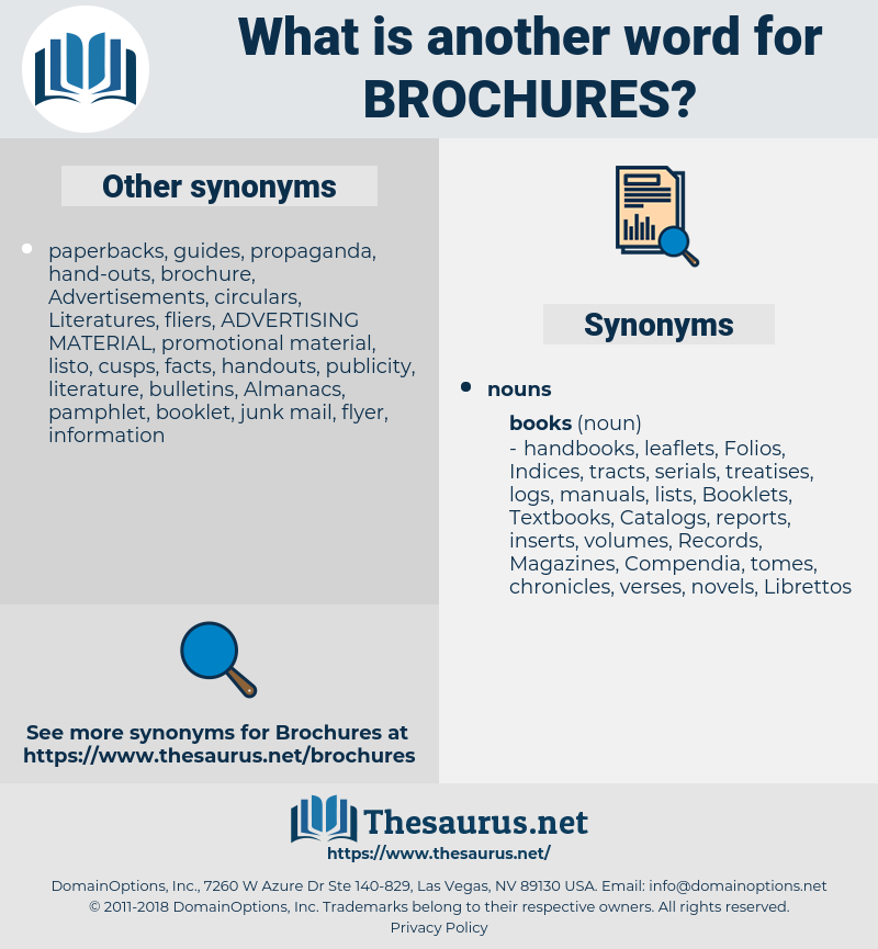 Brochures, synonym Brochures, another word for Brochures, words like Brochures, thesaurus Brochures