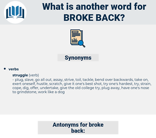 broke back, synonym broke back, another word for broke back, words like broke back, thesaurus broke back