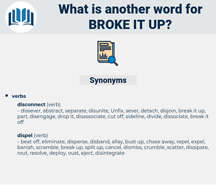broke it up, synonym broke it up, another word for broke it up, words like broke it up, thesaurus broke it up