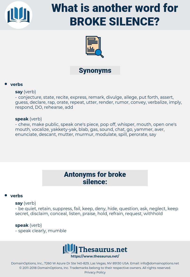 broke silence, synonym broke silence, another word for broke silence, words like broke silence, thesaurus broke silence