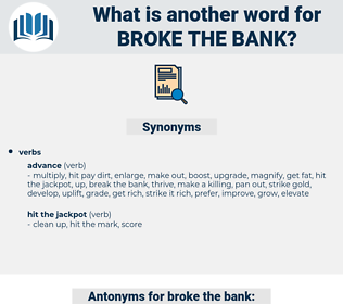broke the bank, synonym broke the bank, another word for broke the bank, words like broke the bank, thesaurus broke the bank