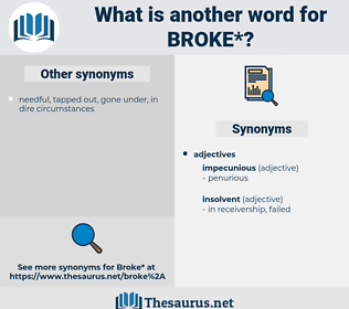 broke, synonym broke, another word for broke, words like broke, thesaurus broke
