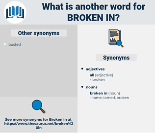 broken in, synonym broken in, another word for broken in, words like broken in, thesaurus broken in
