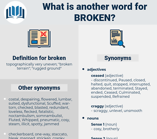 broken, synonym broken, another word for broken, words like broken, thesaurus broken
