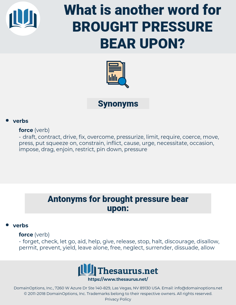 brought pressure bear upon, synonym brought pressure bear upon, another word for brought pressure bear upon, words like brought pressure bear upon, thesaurus brought pressure bear upon