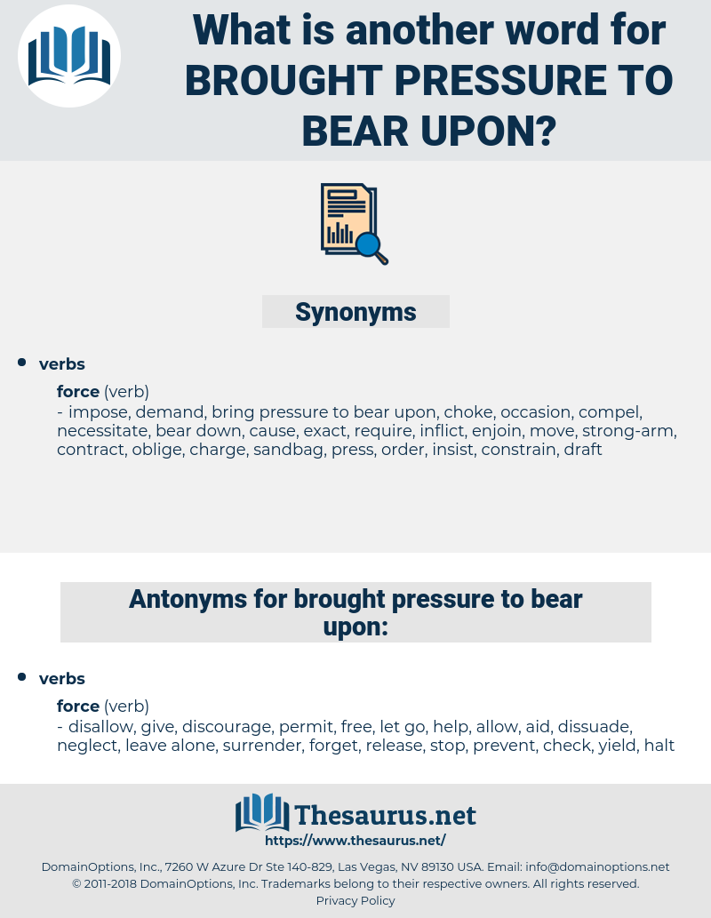 brought pressure to bear upon, synonym brought pressure to bear upon, another word for brought pressure to bear upon, words like brought pressure to bear upon, thesaurus brought pressure to bear upon