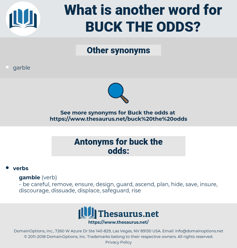 buck the odds, synonym buck the odds, another word for buck the odds, words like buck the odds, thesaurus buck the odds