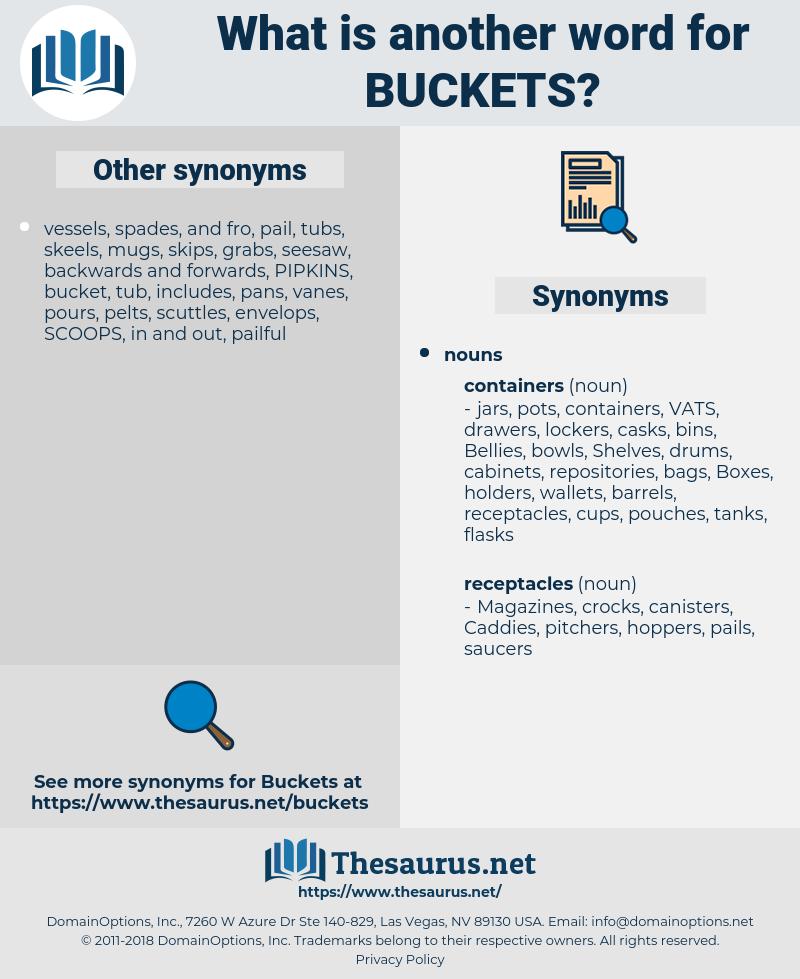 buckets, synonym buckets, another word for buckets, words like buckets, thesaurus buckets