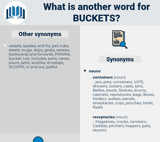 buckets, synonym buckets, another word for buckets, words like buckets, thesaurus buckets
