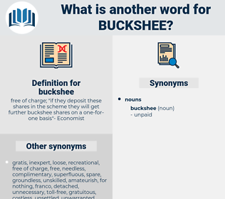 buckshee, synonym buckshee, another word for buckshee, words like buckshee, thesaurus buckshee