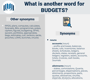 Budgets, synonym Budgets, another word for Budgets, words like Budgets, thesaurus Budgets