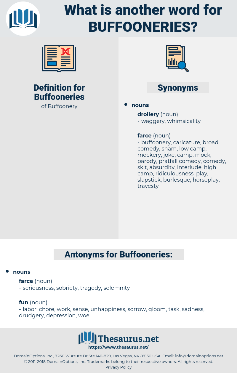 Buffooneries, synonym Buffooneries, another word for Buffooneries, words like Buffooneries, thesaurus Buffooneries