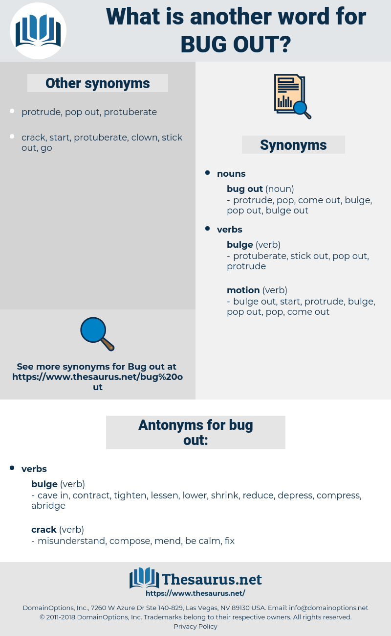bug out, synonym bug out, another word for bug out, words like bug out, thesaurus bug out