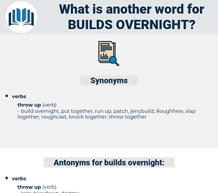 builds overnight, synonym builds overnight, another word for builds overnight, words like builds overnight, thesaurus builds overnight