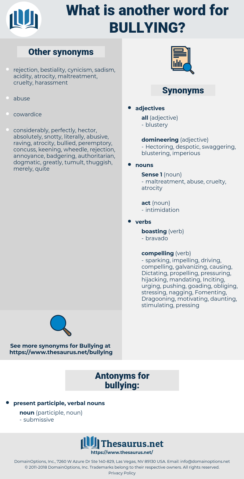 bullying, synonym bullying, another word for bullying, words like bullying, thesaurus bullying