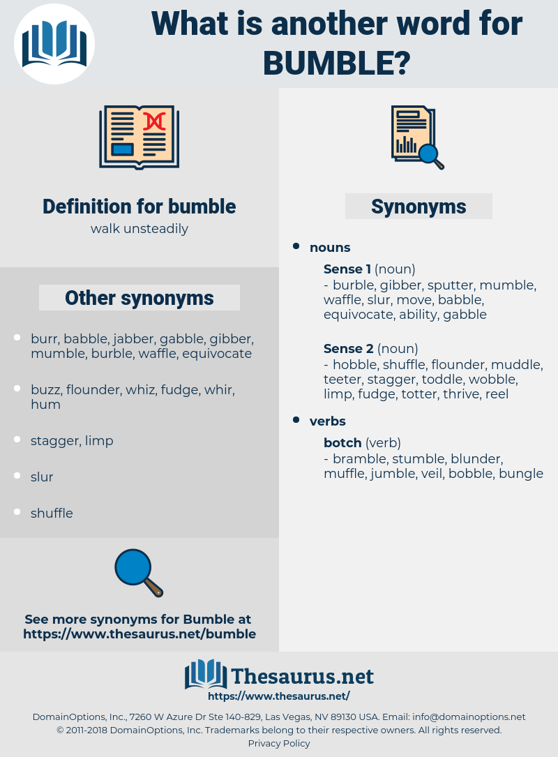 bumble, synonym bumble, another word for bumble, words like bumble, thesaurus bumble