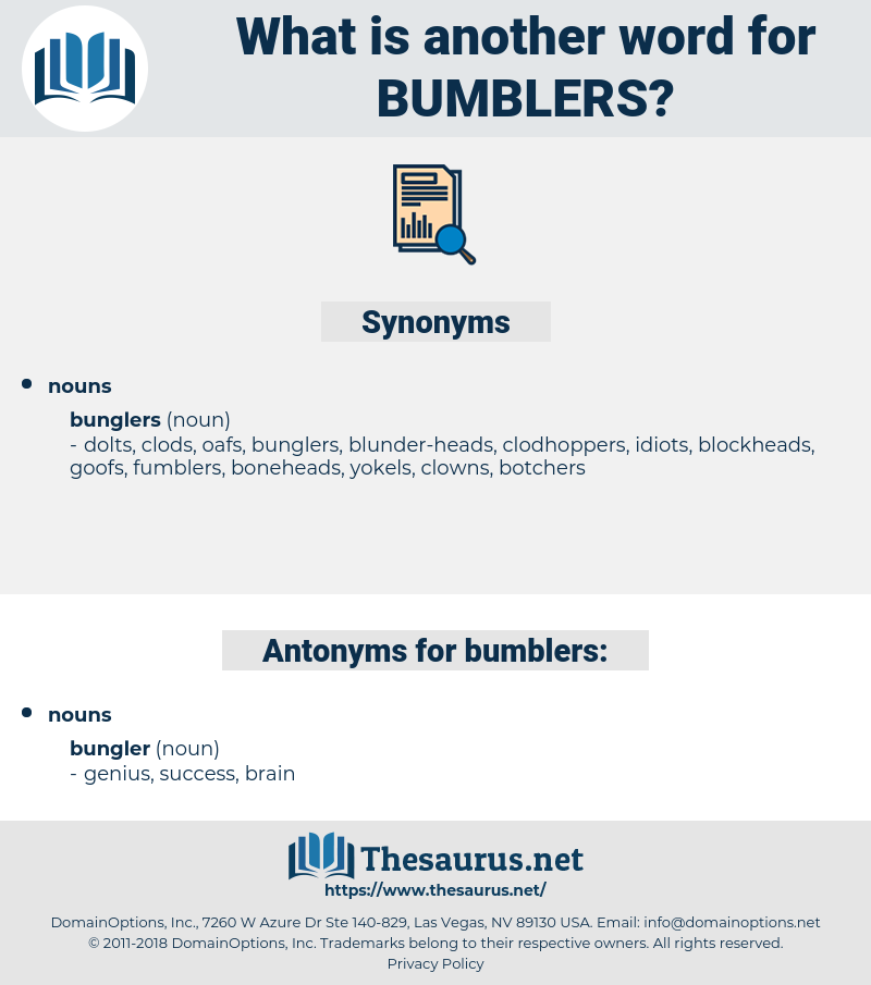 bumblers, synonym bumblers, another word for bumblers, words like bumblers, thesaurus bumblers