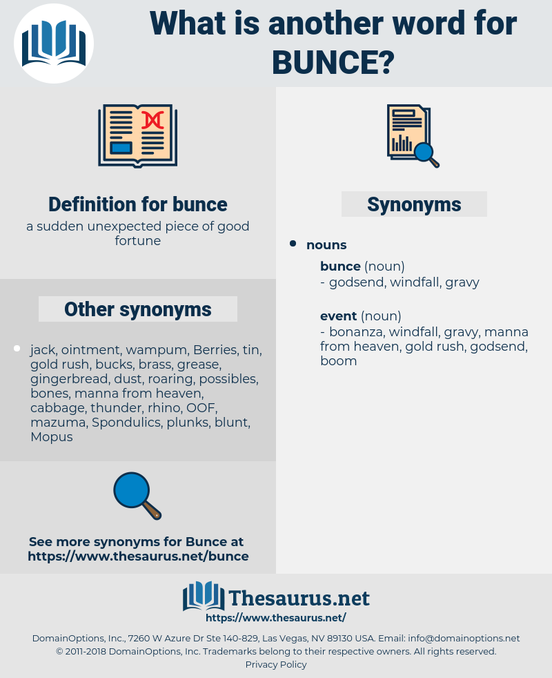 bunce, synonym bunce, another word for bunce, words like bunce, thesaurus bunce
