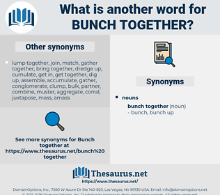 bunch together, synonym bunch together, another word for bunch together, words like bunch together, thesaurus bunch together