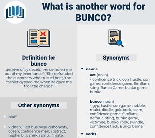 bunco, synonym bunco, another word for bunco, words like bunco, thesaurus bunco