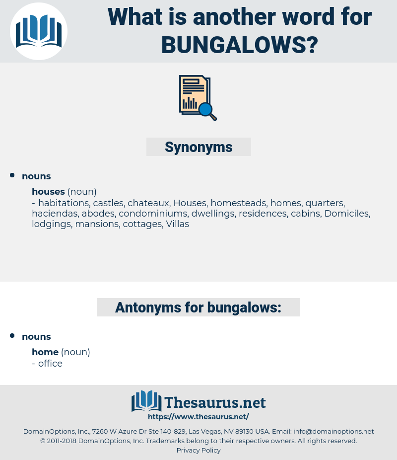 bungalows, synonym bungalows, another word for bungalows, words like bungalows, thesaurus bungalows