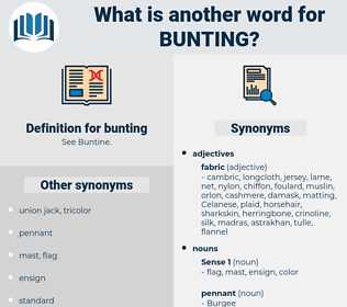 bunting, synonym bunting, another word for bunting, words like bunting, thesaurus bunting