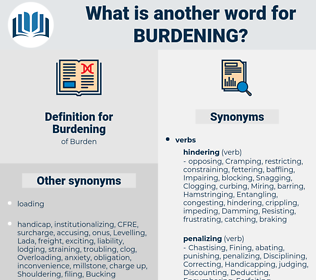 Burdening, synonym Burdening, another word for Burdening, words like Burdening, thesaurus Burdening
