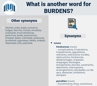 burdens, synonym burdens, another word for burdens, words like burdens, thesaurus burdens