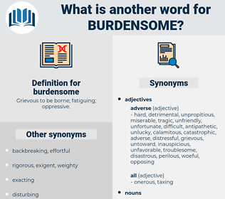 burdensome, synonym burdensome, another word for burdensome, words like burdensome, thesaurus burdensome