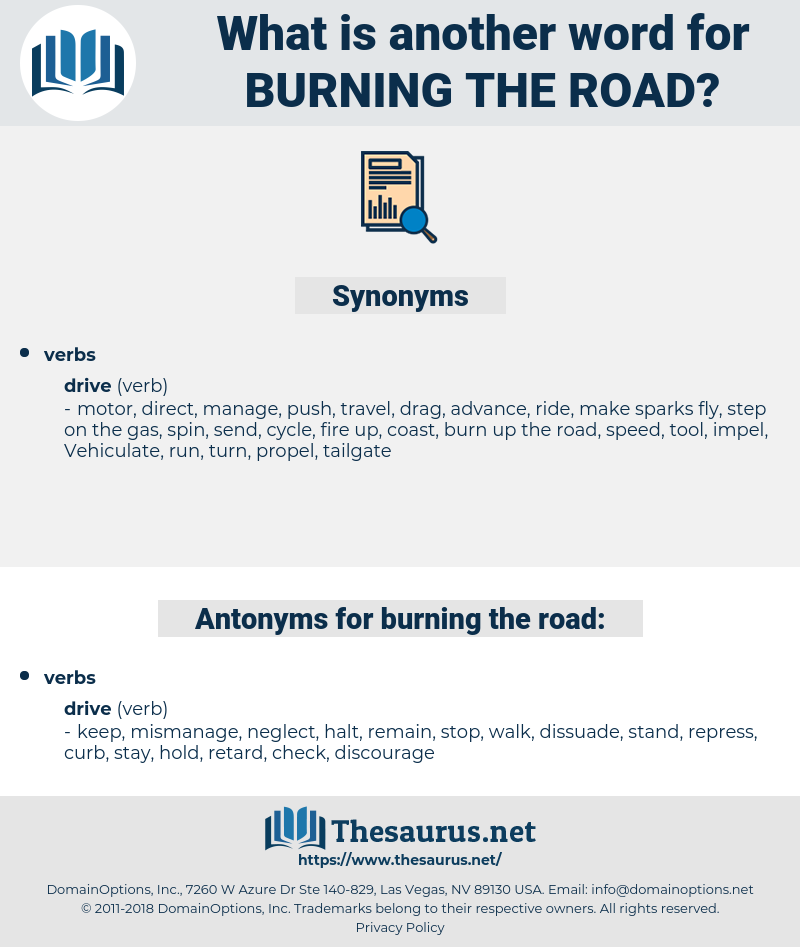burning the road, synonym burning the road, another word for burning the road, words like burning the road, thesaurus burning the road