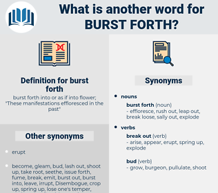 burst forth, synonym burst forth, another word for burst forth, words like burst forth, thesaurus burst forth