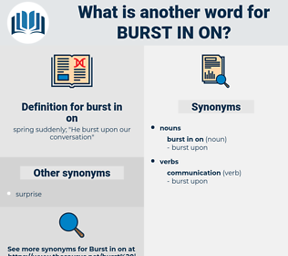 burst in on, synonym burst in on, another word for burst in on, words like burst in on, thesaurus burst in on
