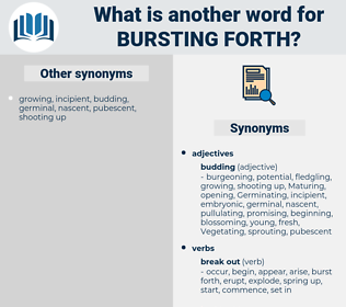 bursting forth, synonym bursting forth, another word for bursting forth, words like bursting forth, thesaurus bursting forth