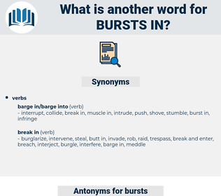 bursts in, synonym bursts in, another word for bursts in, words like bursts in, thesaurus bursts in