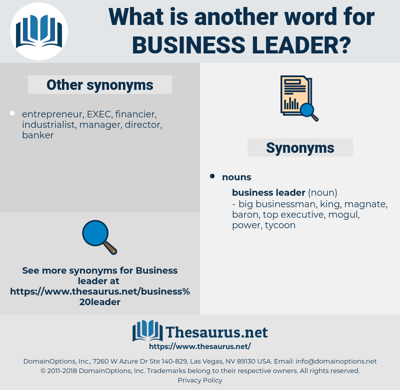 Synonyms for BUSINESS LEADER - Thesaurus net