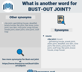 bust-out joint, synonym bust-out joint, another word for bust-out joint, words like bust-out joint, thesaurus bust-out joint