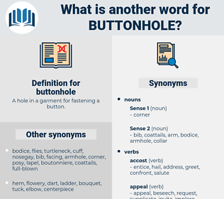 buttonhole, synonym buttonhole, another word for buttonhole, words like buttonhole, thesaurus buttonhole