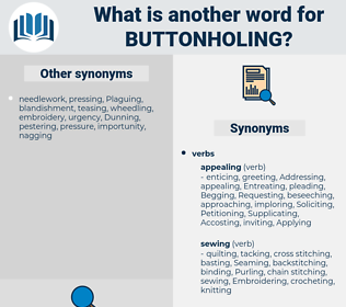 buttonholing, synonym buttonholing, another word for buttonholing, words like buttonholing, thesaurus buttonholing