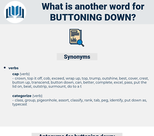 buttoning down, synonym buttoning down, another word for buttoning down, words like buttoning down, thesaurus buttoning down