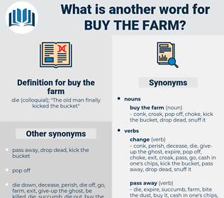 buy the farm, synonym buy the farm, another word for buy the farm, words like buy the farm, thesaurus buy the farm