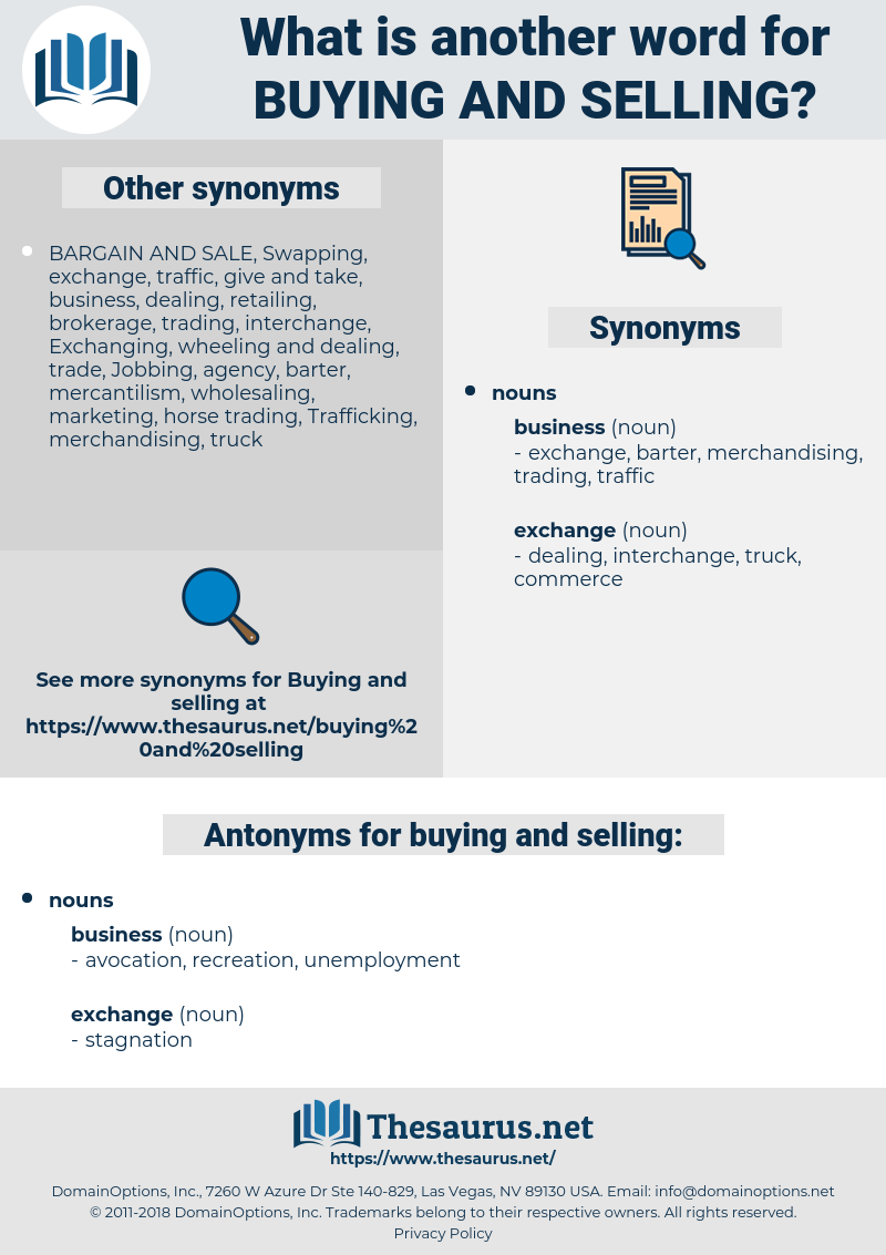 buying and selling, synonym buying and selling, another word for buying and selling, words like buying and selling, thesaurus buying and selling