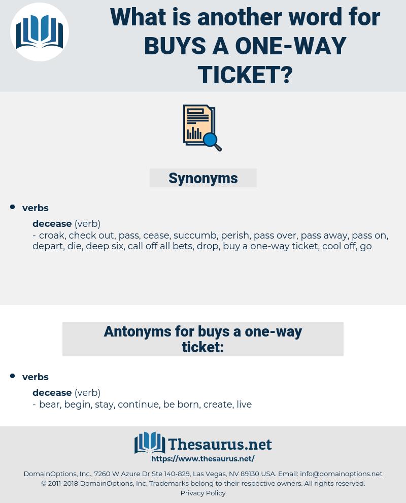 buys a one way ticket, synonym buys a one way ticket, another word for buys a one way ticket, words like buys a one way ticket, thesaurus buys a one way ticket
