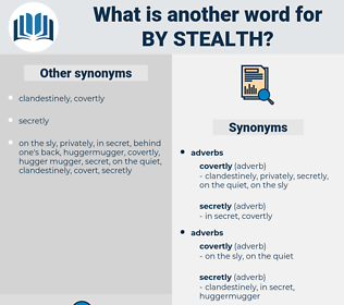 by stealth, synonym by stealth, another word for by stealth, words like by stealth, thesaurus by stealth